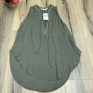 NEW Lush Nordstrom XS Lace Up Woven Tank Top Green